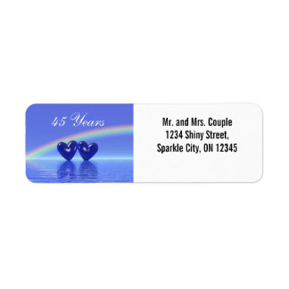 45th Anniversary Sapphire Hearts Return Address Label