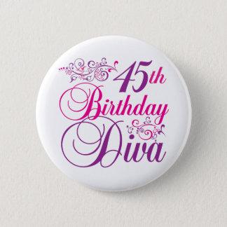 45th Birthday Diva 6 Cm Round Badge