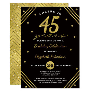 45th Birthday Party Invitation, Cheers, Faux Gold Card