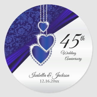 45th Sapphire Wedding Anniversary Design Classic Round Sticker