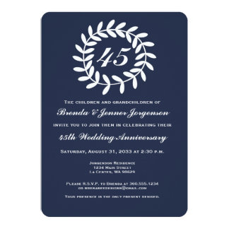 45th Sapphire Wedding Anniversary Invitation