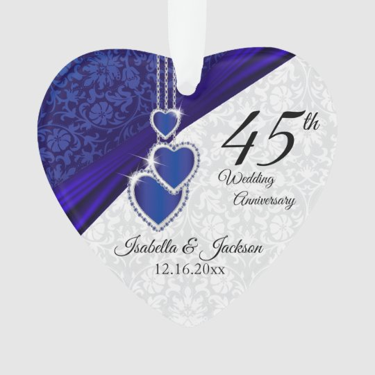 45th Sapphire Wedding Anniversary Keepsake 3 Ornament