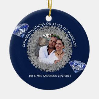 45th Wedding Anniversary - ADD PHOTO Sapphire Blue Ceramic Ornament