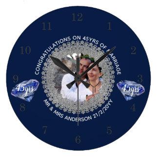 45th Wedding Anniversary - ADD PHOTO Sapphire Blue Large Clock