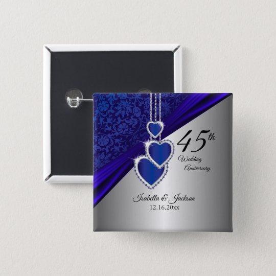 45th Wedding Anniversary Design 2 15 Cm Square Badge