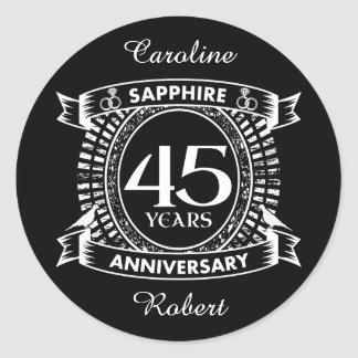 45th wedding anniversary sapphire crest classic round sticker