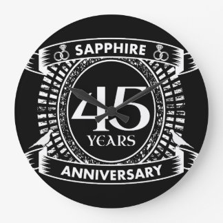 45th wedding anniversary sapphire crest large clock