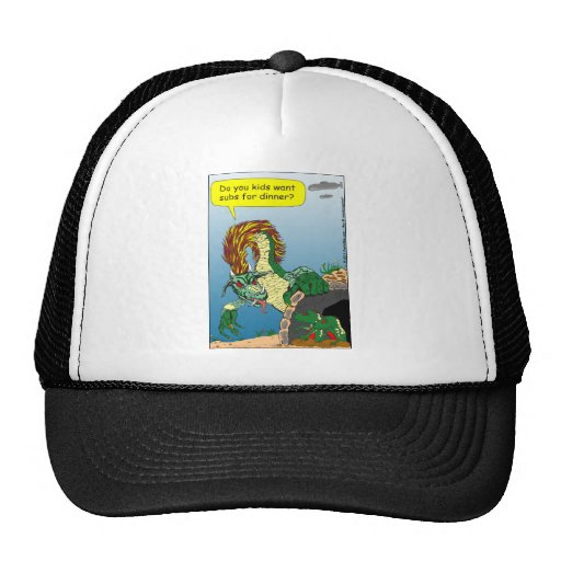 "468 Sea monster ""subs for dinner"" cartoon Trucker Hats"