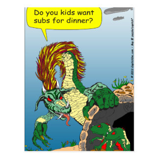 "468 Sea monster ""subs for dinner"" cartoon Postcard"
