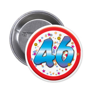 46th Birthday 6 Cm Round Badge