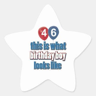 46th year old birthday designs star sticker