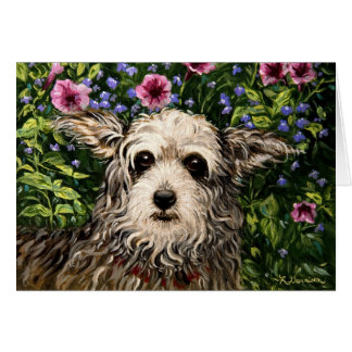 4796b Dog & Petunias Folk Art Birthday Card