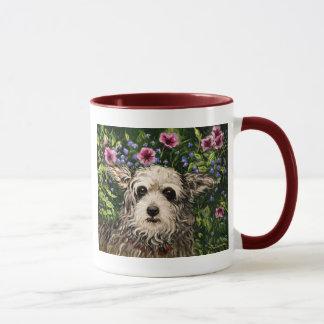4796b Dog & Petunias Folk Art Mug