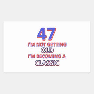 47 birthday designs rectangular sticker