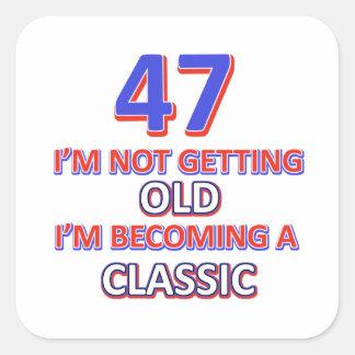 47 birthday designs square sticker
