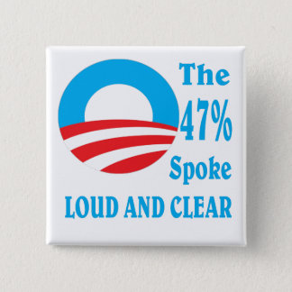 47 percent for BARACK OBAMA. 15 Cm Square Badge