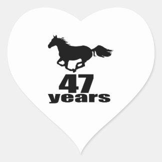 47 Years Birthday Designs Heart Sticker