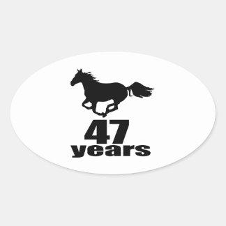47 Years Birthday Designs Oval Sticker