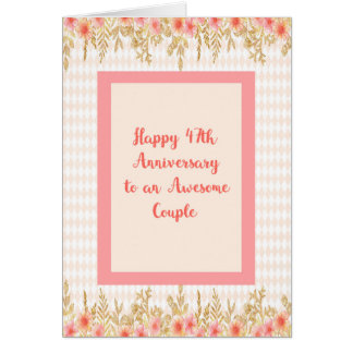 47th Anniversary Card, Peach with Floral Borders Card