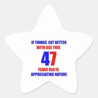 47th Birthday Design Star Sticker