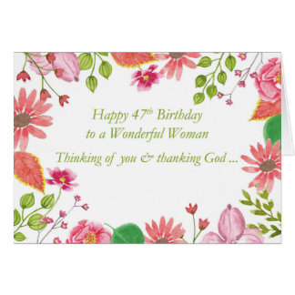 47th Birthday Wonderful Woman Watercolor Flowers R Card