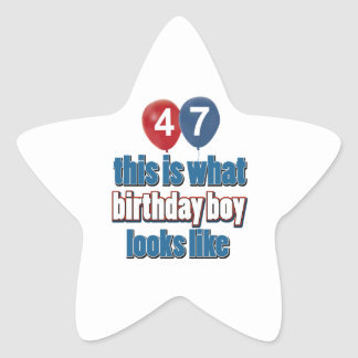 47th year old birthday designs star stickers