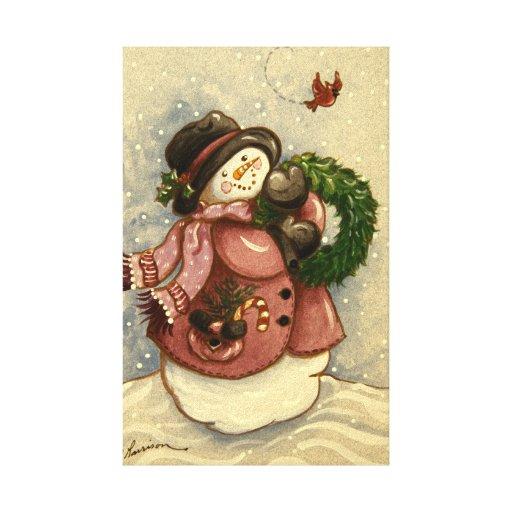 4886 Snowman Wreath Cardinal Christmas Canvas Prints