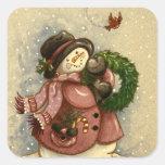 4886 Snowman Wreath Cardinal Square Sticker