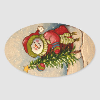 4889 Snowman Christmas Oval Sticker