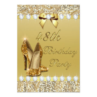 48th Birthday Classy Gold Heels Sequins Diamonds Card