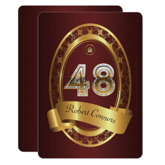 48th,birthday party woman man,elegant color card