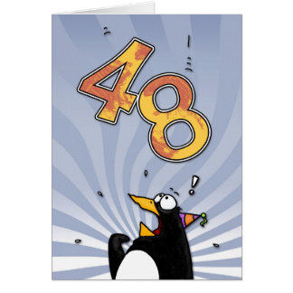 48th Birthday - Penguin Surprise Card