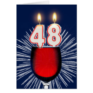 48th Birthday with wine and candles Card