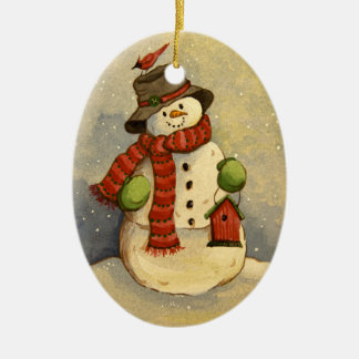 4905 Snowman & Birdhouse Christmas Ceramic Ornament