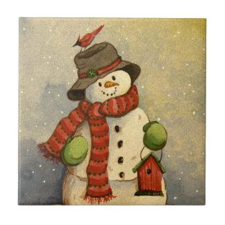 4905 Snowman & Birdhouse Christmas Ceramic Tile