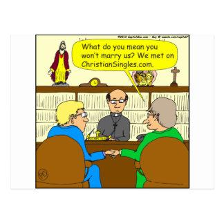 490 christian dating cartoon postcard
