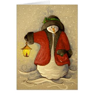 4910 Snowman & Lantern Christmas Greeting Card
