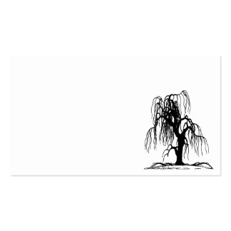 4920 SCARY WEEPING WILLOW TREE BLACK SILHOUETTE GR BUSINESS CARD TEMPLATES