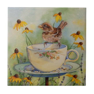 4920 Sparrow on Teacup Feeder with Coneflowers Ceramic Tile