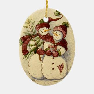 4924 Snowmen Christmas Ceramic Ornament