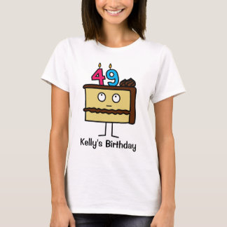 49th Birthday Cake with Candles T-Shirt