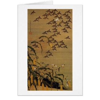 4. 秋塘群雀図, 若冲 Flock of Sparrows, Jakuchū Greeting Card