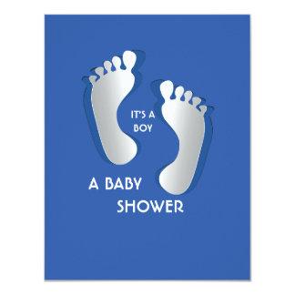 """4.25"""" x 5.5"""" Blue Baby Boy Footprints Baby Shower 11 Cm X 14 Cm Invitation Card"""