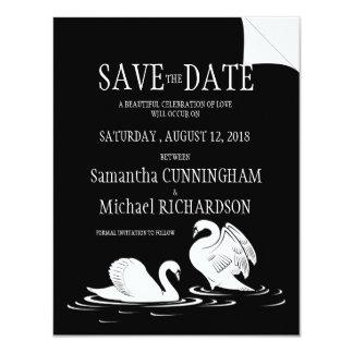 "4.25x5.5""  Swan Couple Black Weddin Save The date Invites"