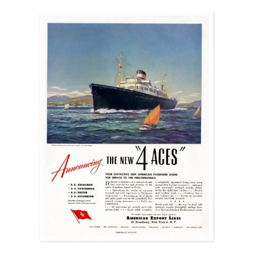 4 Aces 1948 Print Ad Post Cards