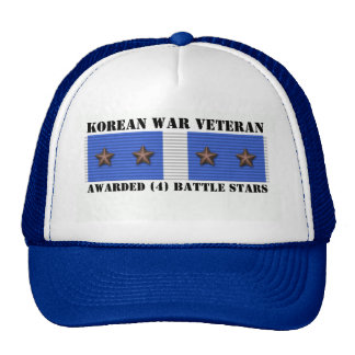 4 BATTLE STARS KOREAN WAR VETERAN TRUCKER HAT