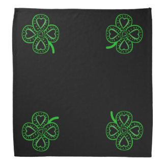 4 Black Green Hearts Clovers St Patrick's Bandana