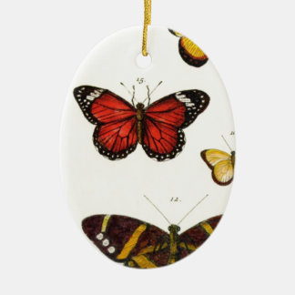 4 butterflies ceramic oval decoration