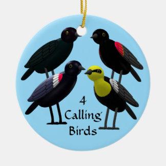 4 Calling Birds Ceramic Ornament