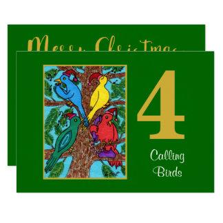 4 Calling Birds Cute Animals Custom Christmas Card